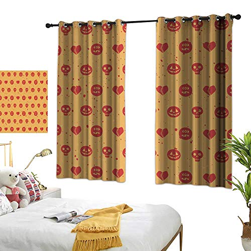 wwwhsl Superior Room Bedroom Curtains Halloween Seamless Pattern Room Decoration Ideas W84.2 xL72]()