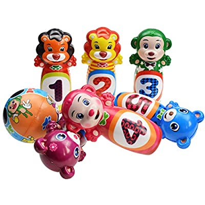 Coxeer 12PCS Kids Bowling Set Interactive Bowling Game Bowling Pin with Ball for Indoor Outdoor Kids Outdoor Sports: Kitchen & Dining