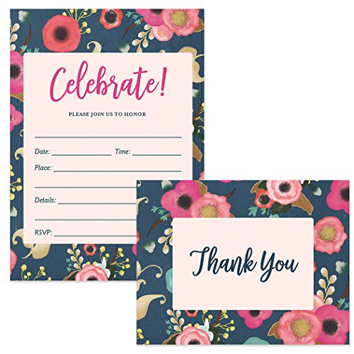 (Any Occasion Invites & Matching Thank You Notes (25 of Each) Set with Envelopes Celebrate All Occasions Office Birthday Retirement Write-in-Style Invitations & Folded Thank You Cards Great Value)