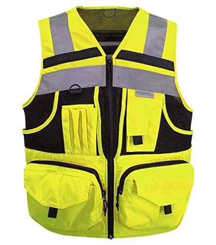 3M Reflective stripes Safety Vest Hi-vis Yellow knitted Vest with 10 pockets Bright Construction Workwear for men and women. (Large)]()