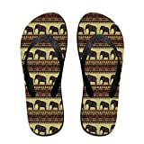Unisex African Print With Elephants Summer Flip Flops Beach Slippers Jandal