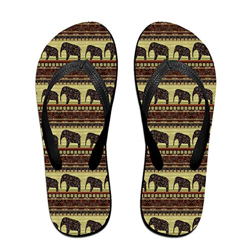 Unisex African Print With Elephants Summer Flip Flops Beach Slippers Jandal by WEIPING LF