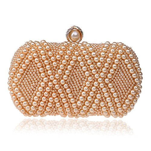 Ladies Champagne Banquet colore Shoulder The Houyazhan Pearl Clutch Donna Crossbody Evening Champagne Luxury Bag FvnwBq4
