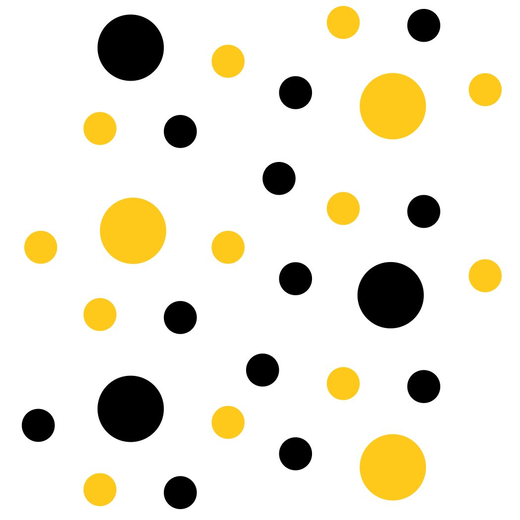 "Black/Yellow Vinyl Wall Stickers - 2"" & 4"" Circles (30 Decals)"