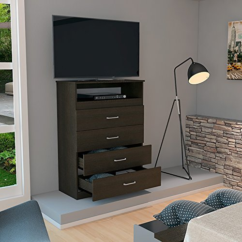 32'' Tv Dresser with 4 Drawers 1 Door and dvd space, Espresso-Wengue
