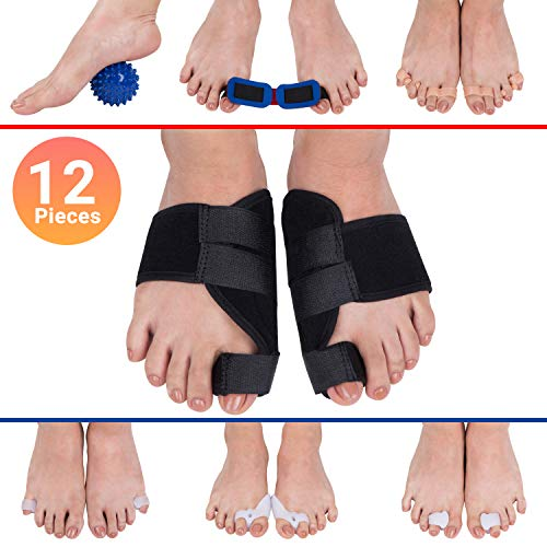 APEX ALLURE - Orthopedic Bunion Corrector and Splint Cushions. Hammer Toe Separator, Corrector , Spacer and Straightener. The ultimate 12pcs Bunion Support and relief -
