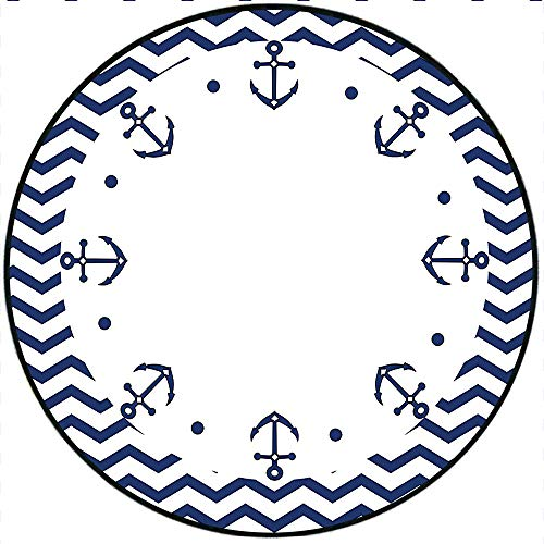 Short Plush Round Rug Marine Yacht Themed Design with Wave Like Zig Zags and Anchors Pattern White and Navy Living Room Coffee Table 55