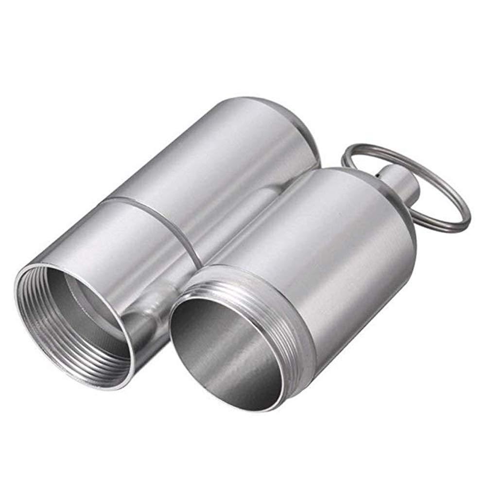 2 Unidades Mini pitillera de Aluminio Soporte con Llavero para Hombres Resistente al Agua Bolsillo Redondo Cigarrillos Caja Caja de Cigarrillos a Prueba de Agua para el Bolsillo