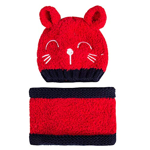 PAGE ONE Baby Toddler Infant Winter Beanie Hat Scarf Cute Warm Kids Cable Knit Hat Fleece Lined(Red) 0-3 Years Old