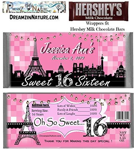 Eiffel Tower Paris Milestone Birthday Candy Bar Wrappers Sweet 16, 21st, 30th, 40th, 50th, 60th, 70th, 75th, 80th, 90th Birthday