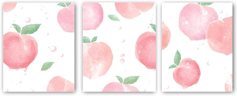 "3 Set - Pink Peach Fruit Wall Art Painting - Kitchen Fruit art Canvas - Cool Summer Prints for Dining Room Home Decor Gift - No Frame,8""x10"""