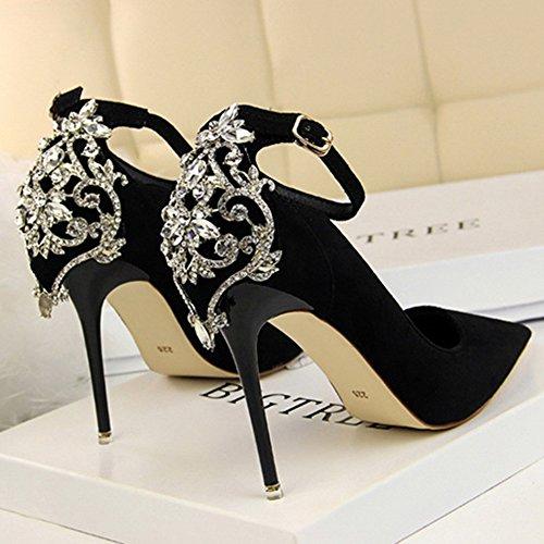 Minces Dclaration Sangle Travail Chaussures Haut Dames Noce De Sexy Shanly Cheville Noir Talon Pour FqftK
