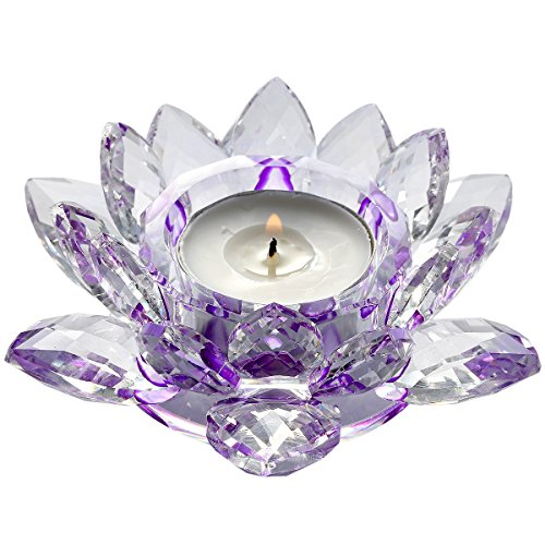 rockcloud Crystal Glass Lotus Tea Light Candle Holders Candlestick Votive for Wedding, Birthday, Party & Home - Holder Pillar Candle Lotus