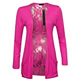 78S Womens Black Floral Lace Back Ladies Long Boyfriend Summer Cardigan (12-14.Cerise)