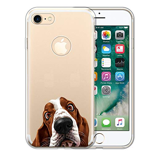 FINCIBO Case Compatible with Apple iPhone 7 2016 / iPhone 8 2017 4.7 inch, Clear Transparent TPU Silicone Protector Case Cover Soft Gel Skin for iPhone 7/8 (NOT FIT 7 Plus, 8 Plus) - Basset Hound Dog