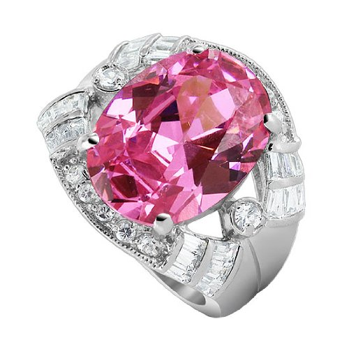 (Gem Avenue 925 Sterling Silver Oval Pink ice CZ Cubic Zirconia Ring Size 5)