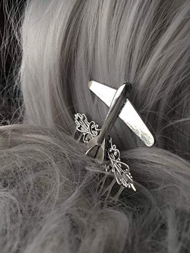 Silver Airplane Hair Comb Gift for Pilot or Stewardess by Arcanum By Aerrowae - Plane Hair Accessories]()