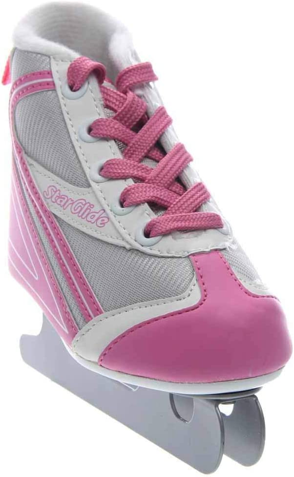 Lake Placid Girls Star Glide Double Runner Ice Skate Pink Grey