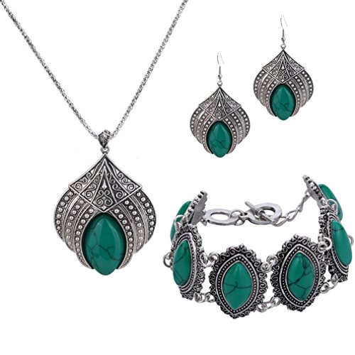 YAZILIND Jewelry Sets Silver Plated Retro Synthetic Turquoise Pendant Necklace Drop Earrings Bracelet