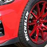 Tire Stickers - Michelin - Tire Lettering Add-On Accessory - DIY, Easy with Free 2oz Bottle Touch-up Cleaner - (19''-21''/1.25'' - 4 Decals)