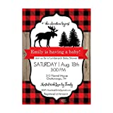 Set of 12 Customizable Personalized Baby Shower Invitations and Envelopes with Red Flannel Moose North Woods NV313