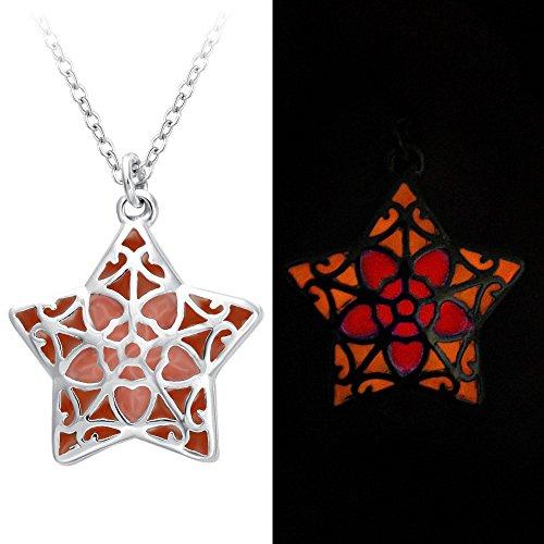 SENFAI Multicolor Glowing Fairy Necklace Magic Star Shape Glow in the Dark Charm Pendant Necklace ()