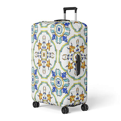 - Semtomn Luggage Cover Watercolor Pattern on Italian Tiles Majolica Cyan Outline Blue Travel Suitcase Cover Protector Baggage Case Fits 22-24 Inch