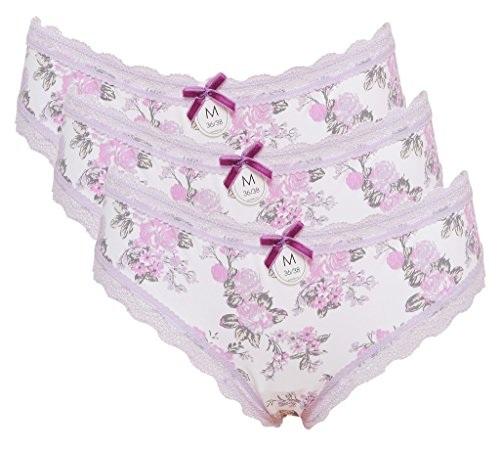 Attraco Women's Lace Trim Hipster Floral Briefs Middle Waist Panties Violet 3 Pack - Floral Hipster Lace