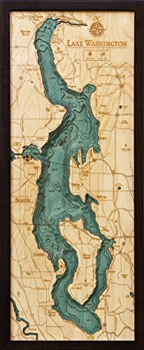Lake Washington, Washington 3-D Nautical Wood Chart, 13.5 x 31