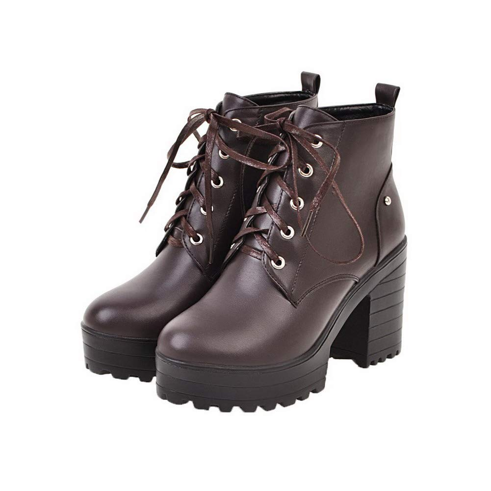 WeenFashion Womens Mid-Calf Solid Lace-Up Round-Toe High-Heels Boots AMGXX022273