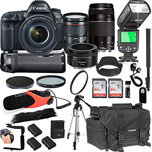 Canon EOS 5D Mark IV with 24-105mm f/4 L is II USM + 75-300mm III + 50mm 1.8 STM Lenses + 128GB Memory + Pro Battery Bundle + Power Grip + Microphone + TTL SpeedLight + Pro Filters,(25pc Bundle)