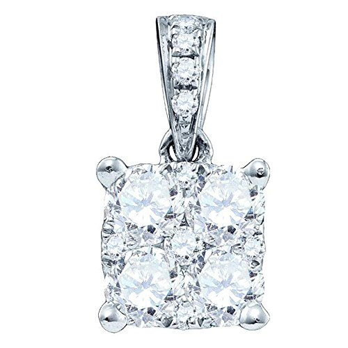 Sonia Jewels 18K White Gold Invisible & Channel Set Princess Square Diamond Pendant Charm (1/2 cttw.) (Pendant Diamond Invisible Set Princess)