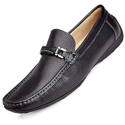 (Salo New York Slip On Black Loafers - Men's Leather Shoes - 45 EU (10.5 US) - S405-13-BK-45)