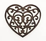 Aunt Chris' Products - Heavy Cast Iron - Heart Trivet with Elegant Scrollwork - With A Vintage Design - And That Old Country Look