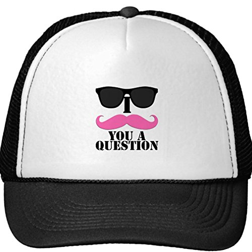 I Mustache You A Question Pink With Sunglasses Trucker - Mustache Wholesale Sunglasses
