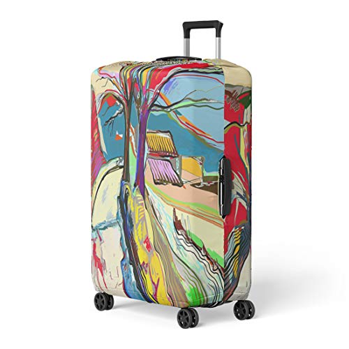 r Summer Digital Painting of Rural Landscape Artist Brushwork Travel Suitcase Cover Protector Baggage Case Fits 18-22 inches ()