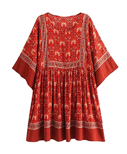 - R.Vivimos Women's Summer Cotton Half Sleeve Casual Loose Bohemian Floral Tunic Dresses (XL, Red)
