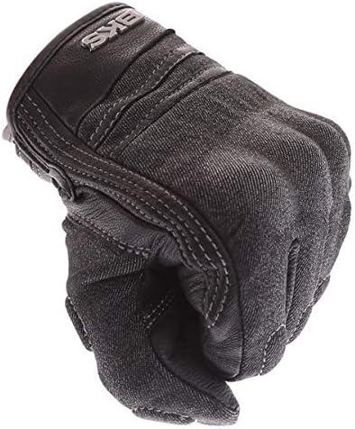 BKS Denim Short Cuff Armoured Motorcycle Gloves Black J/&S L
