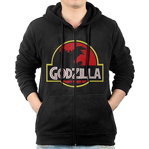 LuosisiJia Hoodie Sweatshirt Men's Godzilla Park Long Sleeve Zip-up Hooded Sweatshirt Jacket Black (Godzilla Size Chart)