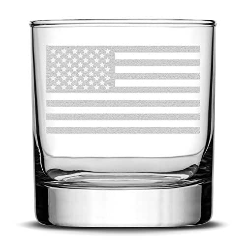 Premium American Flag Whiskey Glass, Hand Etched Old Glory 10oz Rocks Glass, Made in USA, Highball Gifts, Sand Carved by Integrity Bottles