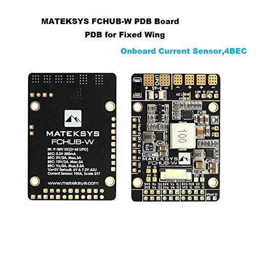 Matek PDB for Fixed Wings, 4X BEC Power Distribution Board (9-30V DC Input, 3.3V 500mA Cont, 104A Current Sensor)