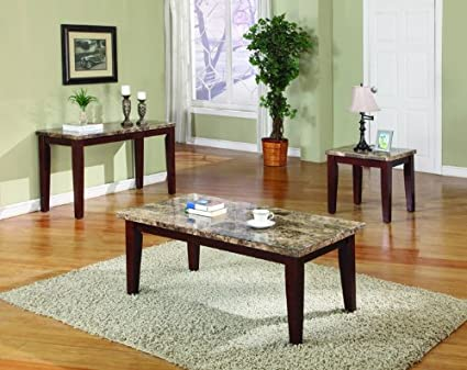 Amazon.com: ACME 07383 Granada Marble Top Sofa Table, Brown ...