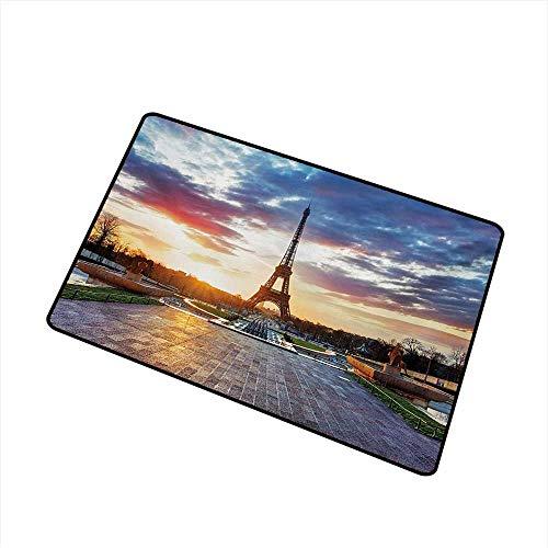 BeckyWCarr Eiffel Tower Front Door mat Carpet Parisian Landmark Sunrise with Clouds on Horizon Park Statues Sun Rays Machine Washable Door mat W31.5 x L47.2 Inch,Navy Yellow Green