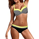 SMALLE◕‿◕ Womens Beachwear, Classic Style Stitching Plaid Stripes Padded Bra Bikini Set Sexy Slim Swimsuit Yellow