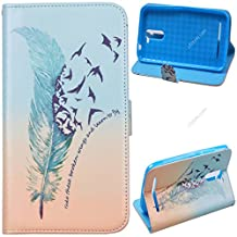 Voguecase® For BLU Studio 6.0 LTE Case,Slim Fit PU Leather Case Cover with Stand (green feather 02) & Card Slots with Free Universal Screen-stylus