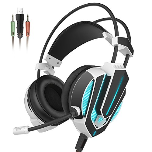 Honstek G9 Gaming Headset, USB and 3.5mm Stereo Surround LED Lighting Vibration Headphones with Microphone and Volume Control, Compatible for Laptop PC Computer (Black/White) Image