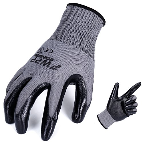 FWPP Black Nitrile Coated Work Gloves,Nylon Breathable Light Weight Garden Gloves for Men and Women,Antistatic Skin Flexible Safety Gloves,Pack of 12Pairs
