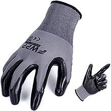 FWPP Black Nitrile Coated Work Gloves,Nylon Breathable Light Weight Garden Gloves for Men and