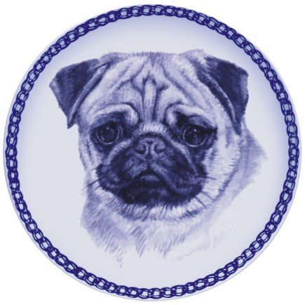 Pug Lekven Design Dog Plate 19.5 cm  7.61 inches Made in Denmark NEW with certificate of origin PLATE  75644