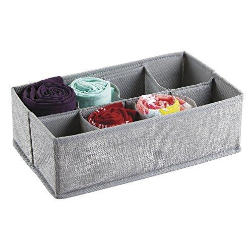InterDesign Aldo Fabric Dresser drawer Storage Organizer for Underwear, Socks, Bras, Tights, Leggings - 8 Compartments, Gray